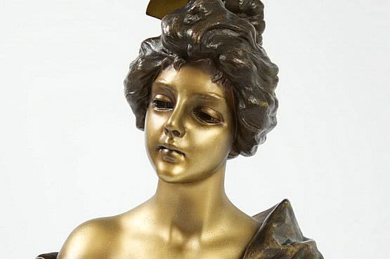 ☑️ 20th Century Decorative Arts |Emmanuel Villanis French Art Nouveau sculpture bust