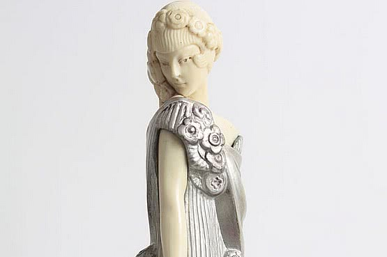 ☑️ 20th Century Decorative Arts |raymonde guerbe art deco bronze figure ivory figure