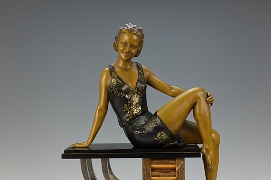 ☑️ 20th Century Decorative Arts |antique Art Deco figurine balleste spelter figurine