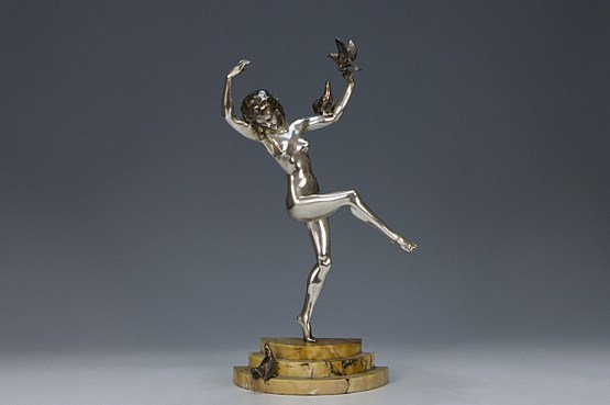 ☑️ 20th Century Decorative Arts |art deco dancing lady figurine by bouraine