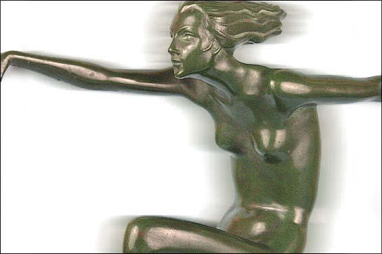 20th Century Decorative Arts:  Lorenzl art deco bronze figure 1930