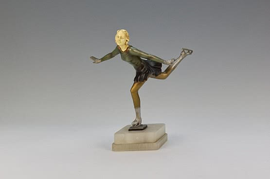 ☑️ 20th Century Decorative Arts |art deco spelter skater figure