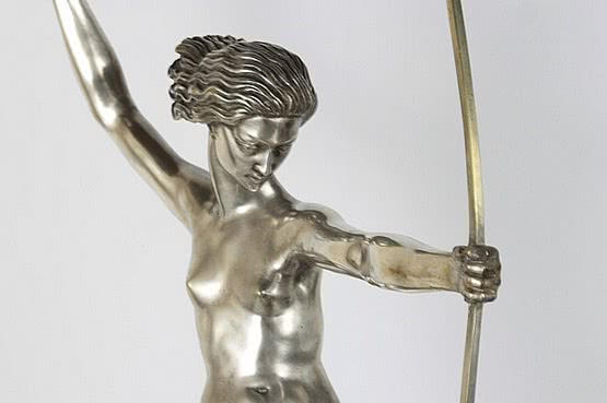 ☑️ 20th Century Decorative Arts |diana with fawns bouraine art deco bronze