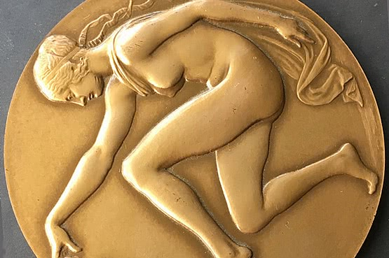 ☑️ 20th Century Decorative Arts |Ede Telcs (1872-1948)  bronze Art Medal famous art deco sculptures