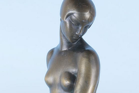 ☑️ 20th Century Decorative Arts |Fayral art deco metal figure, ondine