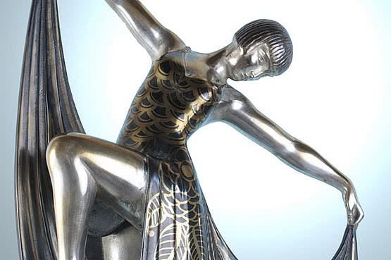 20th Century Decorative Arts: an art deco metal sculpture, louise brooks by gilbert