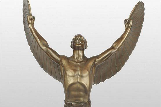 ☑️ 20th Century Decorative Arts |ICARUS a cold-painted spelter figure,                           Germany circa 1930,from a model by Otto Schmidt-Hofer