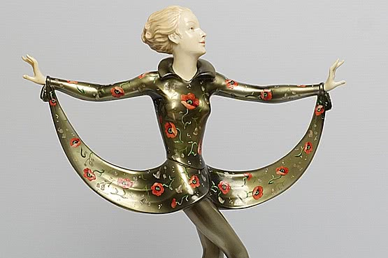 ☑️ 20th Century Decorative Arts |josef lorenzl art deco bronze ivory crejo statue 1920s 1930s