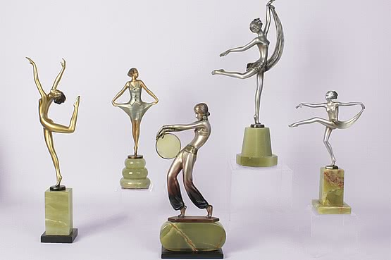 20th Century Decorative Arts: josef lorenzl art deco bronzes