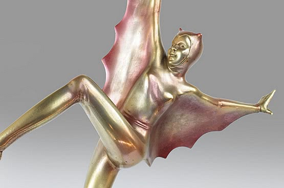 ☑️ 20th Century Decorative Arts |Josef lorenzl art deco bronze bat girl figurine