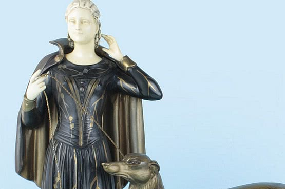 ☑️ 20th Century Decorative Arts |art deco menneville ivorine spelter figure