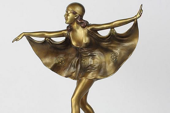 ☑️ 20th Century Decorative Arts |prof poertzel art deco bronze butterfly girl figurine