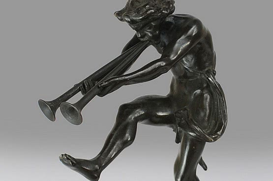 A mythological bronze sculpture of a satyr, probably Marsyas, France circa 1900