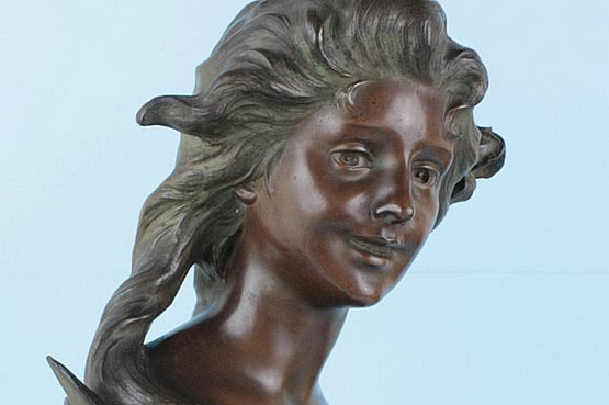 ☑️ 20th Century Decorative Arts |antique art nouveau kinsberger bust spelter