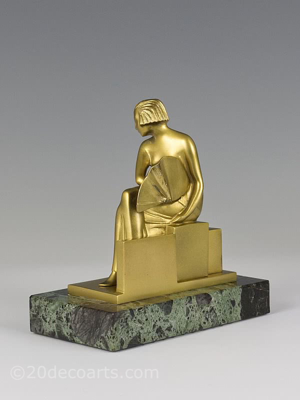 Sibylle may cubist art deco bronze statue 1925