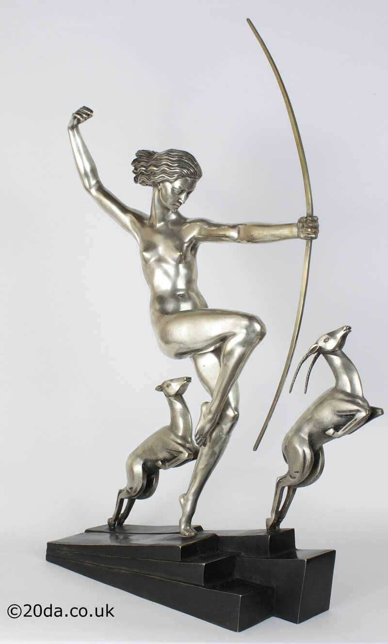 Art Deco Bouraine Bronze - Diana with Fawns