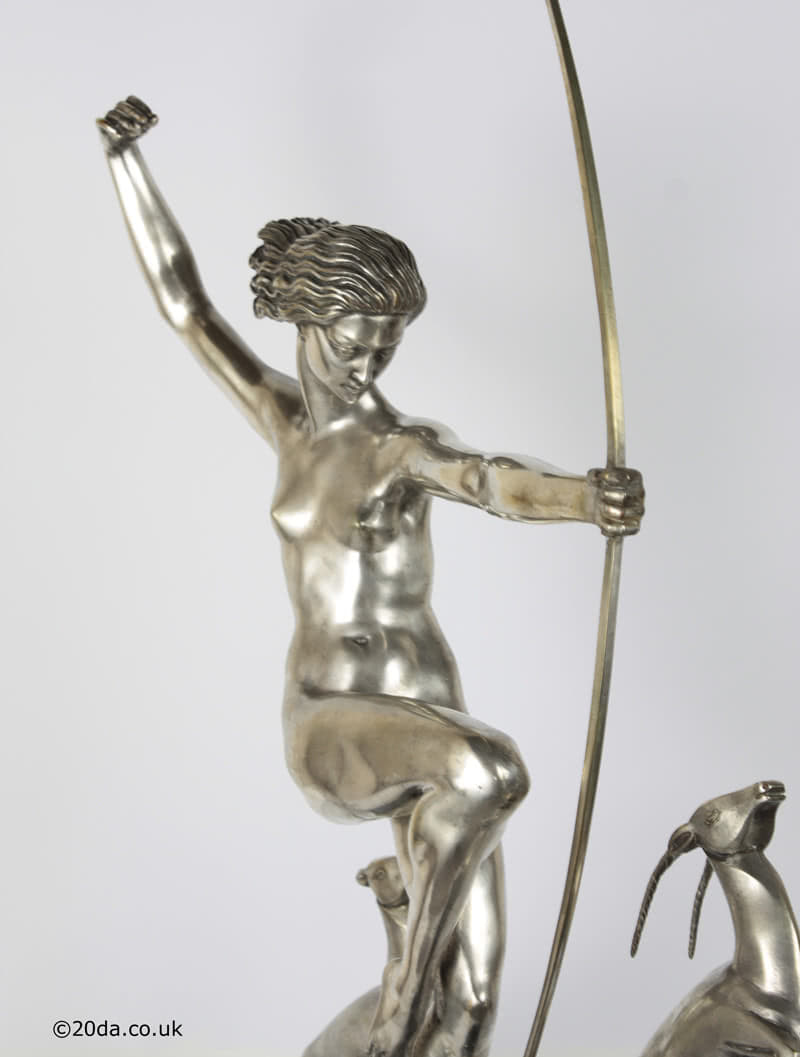 Diana with Fawns an Art Deco French bronze figure by Marcel-Andre Bouraine, circa 1925, edited by Edmund Etling