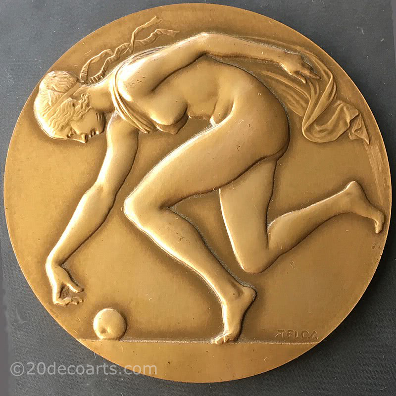 20th Century Decorative Arts |Ede Telcs (1872-1948)    A bronze Art Medal of Atalanta chasing a golden apple