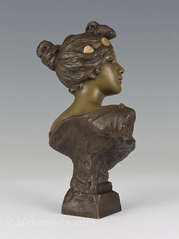 Emmanuel Villanis - An Art Nouveau French spelter bust entitled               Circé