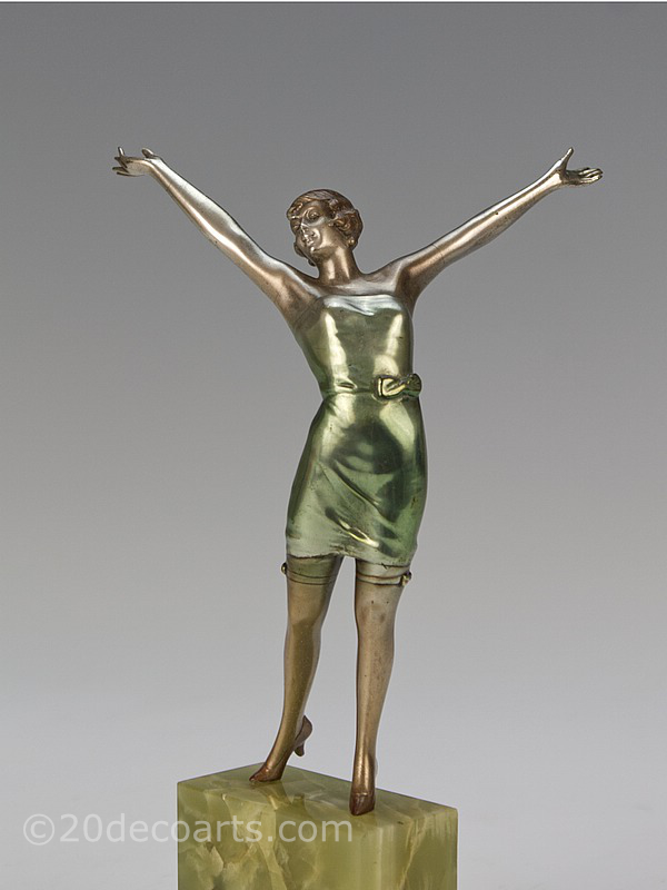 Josef Lorenzl- An Art Deco bronze figure, Vienna 1930, depicting a very stylish  dancer