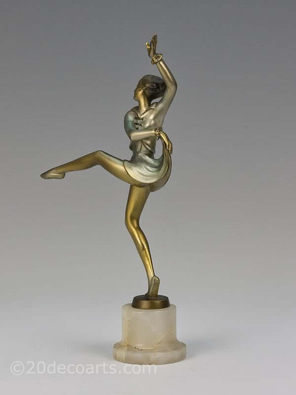 20th Century Decorative Arts |Josef Lorenzl Art Deco bronze figure dancer photo 2