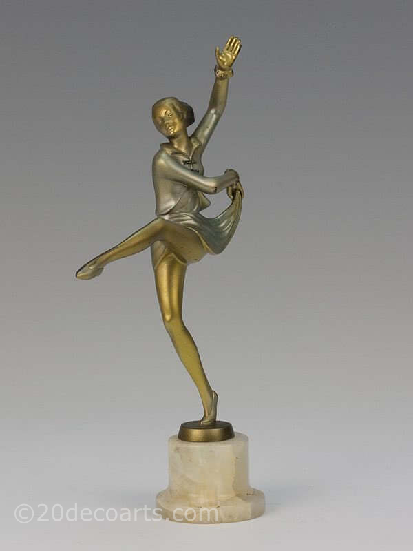 20th Century Decorative Arts |Josef Lorenzl Art Deco bronze figure dancer photo 3