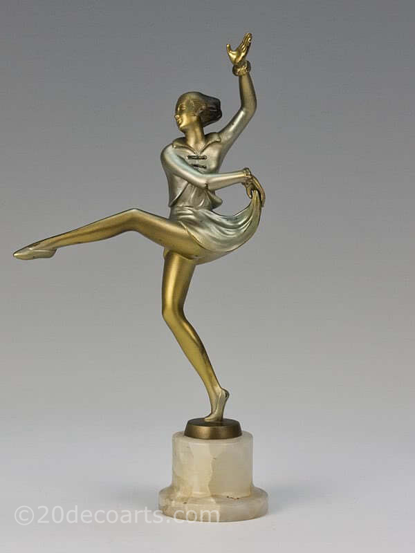 20th Century Decorative Arts |Josef Lorenzl Art Deco bronze figure dancer photo 1
