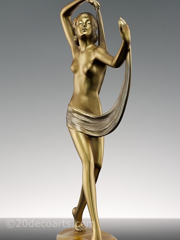 josef lorenzl art deco bronze scarf dancer