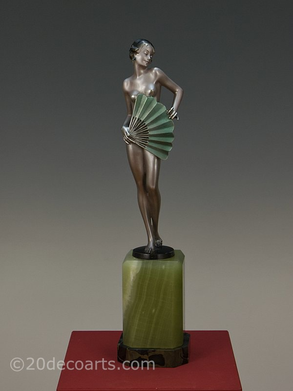 Josef Lorenzl Art Deco Bronze Fan Dancer 1930 2