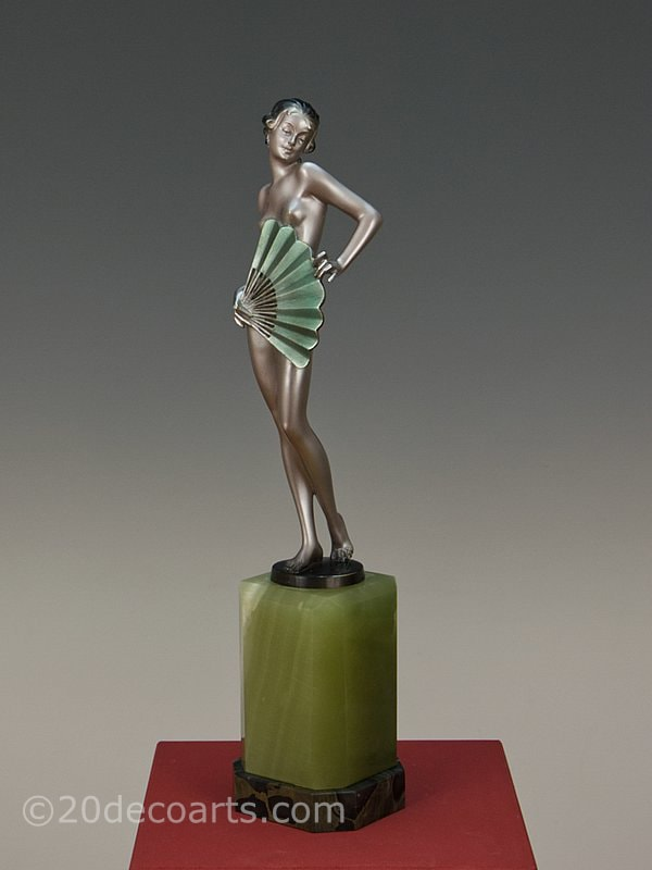 Josef Lorenzl Art Deco Bronze Fan Dancer 1930 3