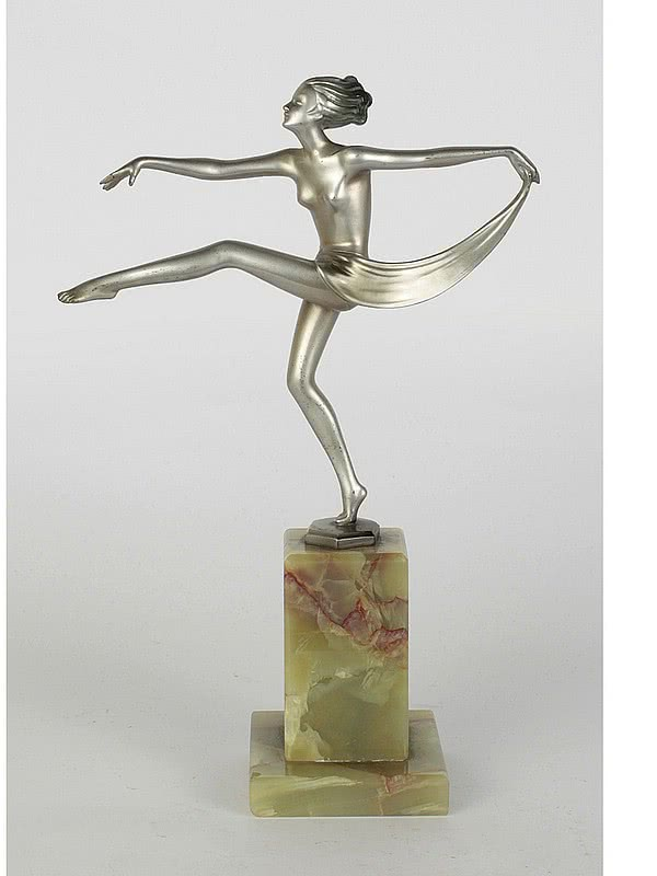 20th Century Decorative Arts |Josef Lorenzl - scarf dancer  - An Art Deco bronze figure