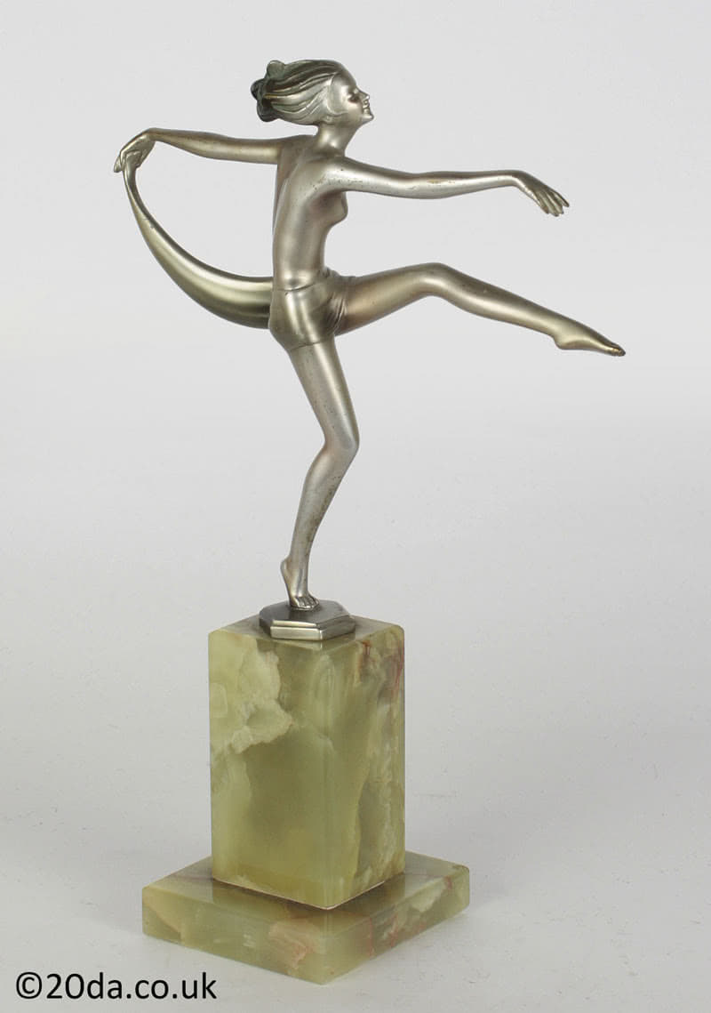 art deco Josef Lorenzl - scarf dancer  bronze figure for sale