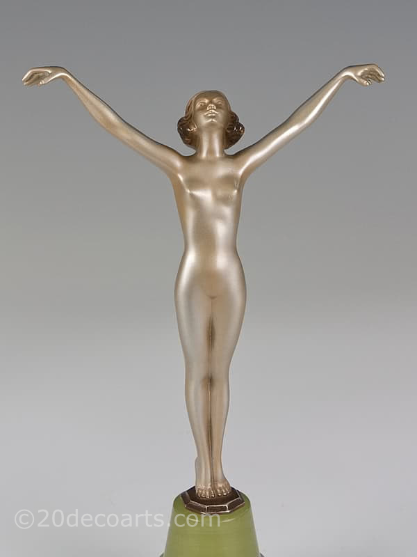 Josef Lorenzl - An Art Deco bronze figure, Austria circa 1930, the large bronze dancer with a gold and enamelled finish