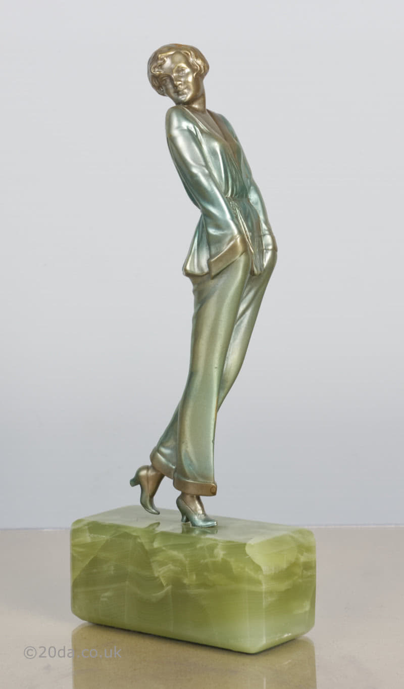 Josef Lorenzl pyjama girl Art Deco bronze  figure photo 1 photo 2