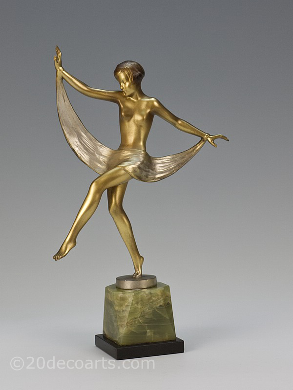 20th Century Decorative Arts |A stylish Art Deco bronze figure by Josef Lorenzl, Vienna Austria circa 1930 the young woman dancing with her scarf. Gold cold painted bronze with enamel mounted on a shaped green Brazilian onyx and black marble base.