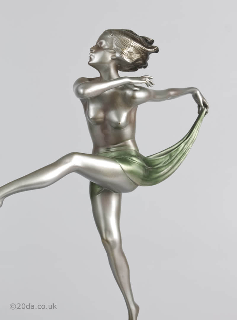 josef lorenzl art deco bronze statue 1930s dancer