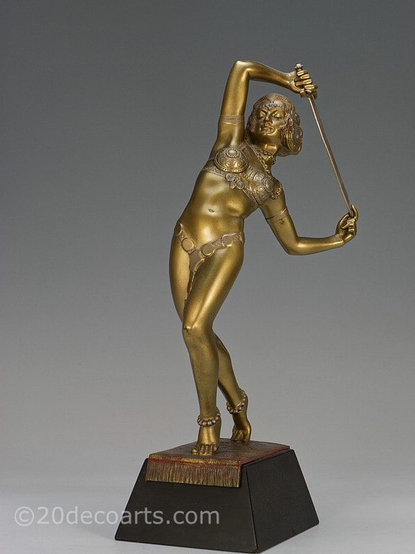 Josef Lorenzl Art Deco bronze dancer Salome figure |20th Century Decorative Arts