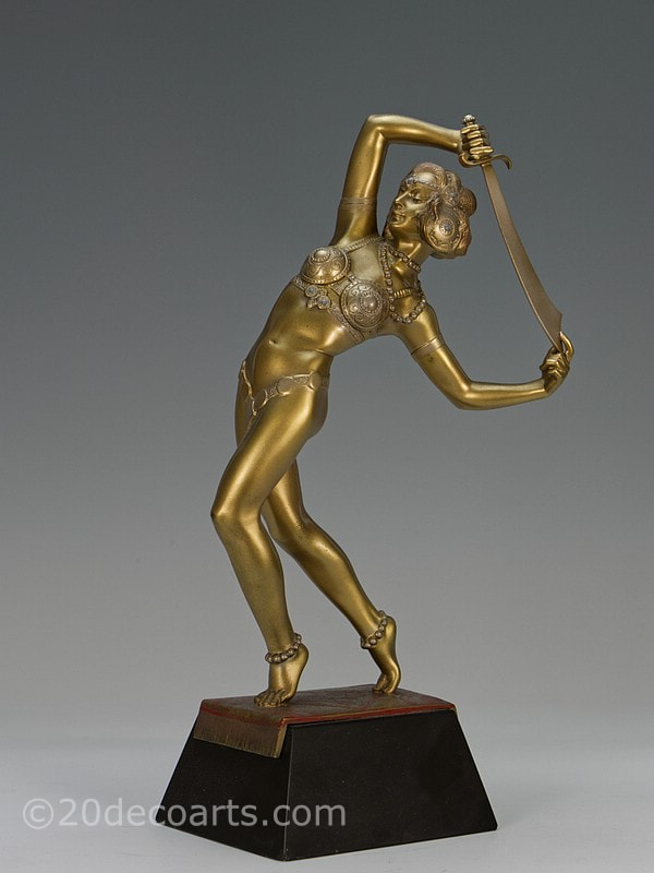 Josef Lorenzl Salome Orientalist dancer Art Deco bronze figure | 20th Century Decorative Arts
