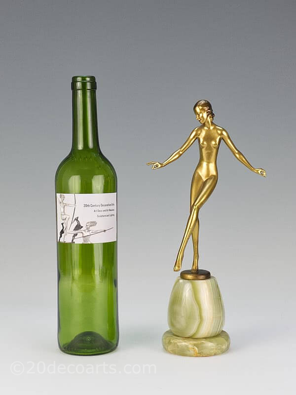 "20th Century Decorative Arts |A stylised Art Deco  Austrian bronze  figure by Josef Lorenzl ""Grace""  circa 1930s depicting a  dancer"