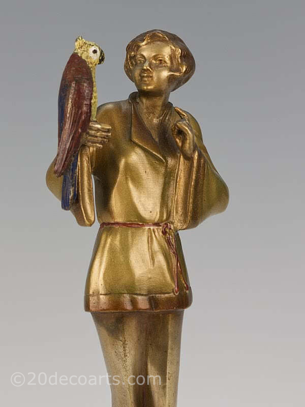 art deco bronze figure by Josef Lorenzl, Pyjama Girl with Parrot