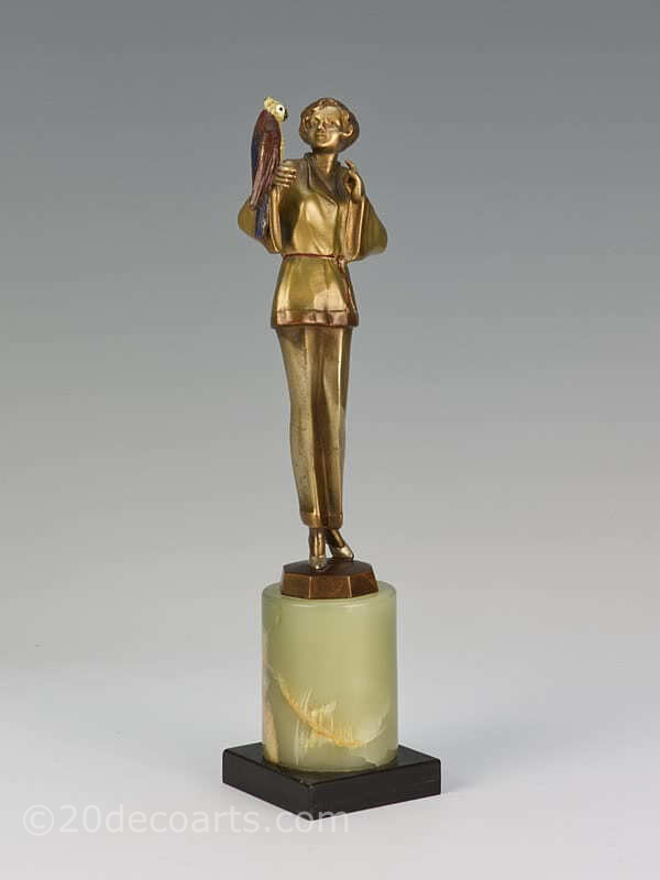 art deco bronze figure Josef Lorenzl, Pyjama Girl with Parrot