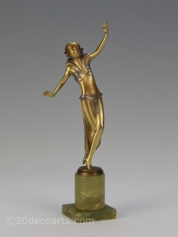 "20th Century Decorative Arts | A rare Art Deco Austrian bronze figure by Josef Lorenzl, ""Tempeltänzerin"", circa 1930"