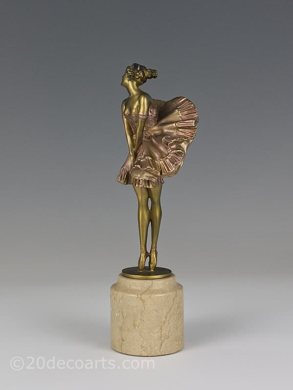 20th Century Decorative Arts |paul philippe Art Deco bronze ballerina figurine photo 1