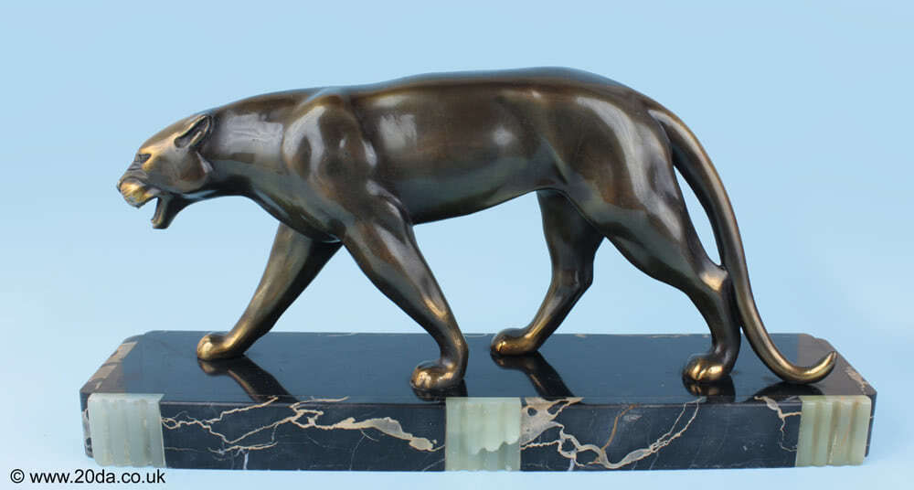 Ruchot An Art Deco patinated panther sculpture, France circa 1930.