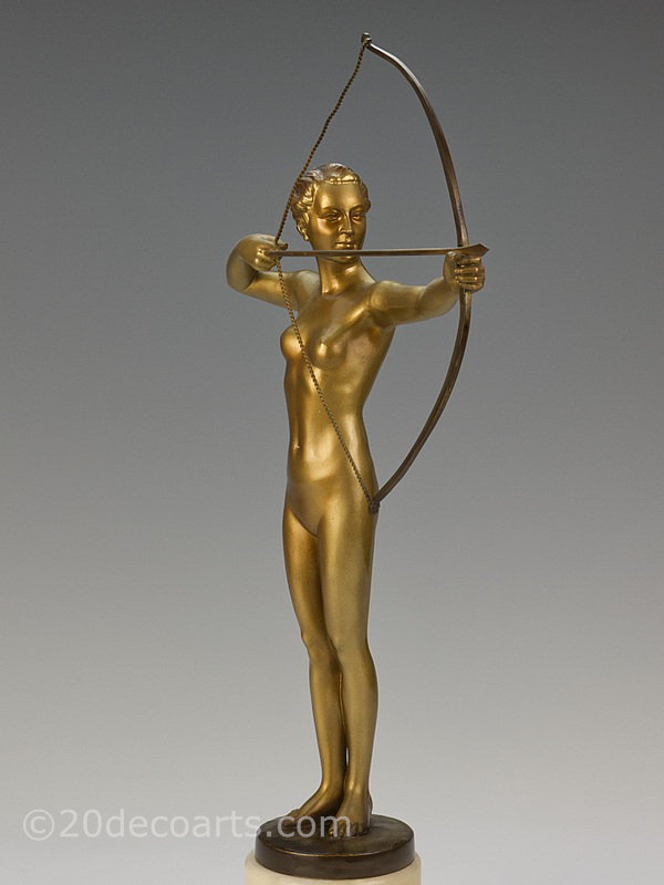 Art Deco Diana the huntress - A superb German gilded metal figure