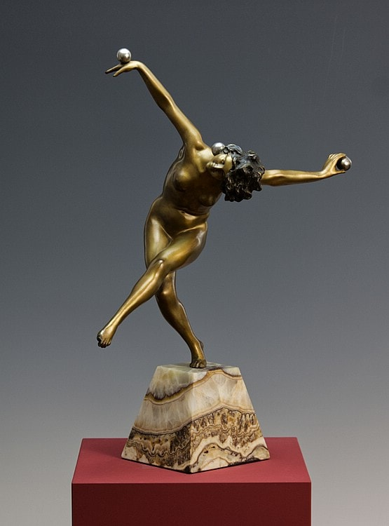 ☑️ colinet art deco bronze statues 1930s for sale